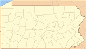 A map of the state of Pennsylvania showing all 67 counties and a red circle marking the site of each state park