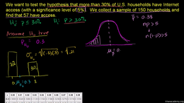 Hypothesis testing with one sample : Lar... Volume Probability and statistics series by Sal Khan