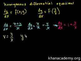 Homogeneous equations : First order home... Volume Differential Equations series by Sal Khan