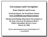 Governance and Corruption : Some Empiric... by Kaufmann, Daniel