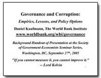 Governance and Corruption : Empirics, Le... by Kaufmann, Daniel