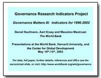 Governance Research Indicators Project G... by Kaufmann, Daniel