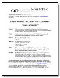 Gpo to Present Library of the Year Award... by Government Printing Office