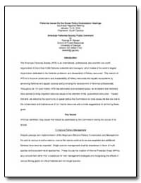 Fisheries Issues for the Ocean Policy Co... by Government Printing Office