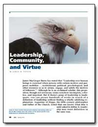 Leadership, Community, And Virtue by Toner, James H.