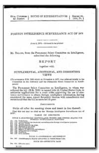 Foreign Intelligence Surveillance Act of... by Department of National Security