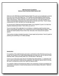 Sba Nomination Guidelines National Small... by Small Business Administration