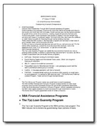 Borrower's Guide 2Nd Edition Fy1996 by Small Business Administration