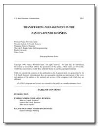 Transferring Management in the Family-Ow... by Bowman-Upton, Nancy