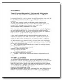The Surety Bond Guarantee Program by Small Business Administration