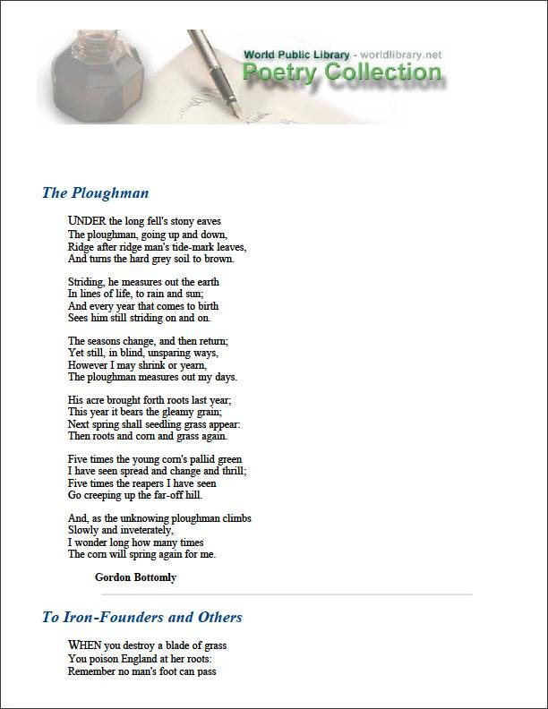 The Ploughman by Bottomley, Gordon