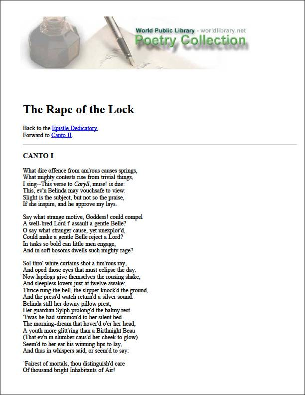 The Rape of the Lock by Dedicatory, Epistle