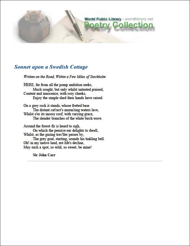 Sonnet Upon a Swedish Cottage by Carr, John, Sir