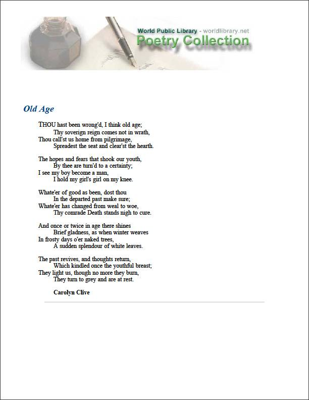 Old Age by Clive, Carolyn