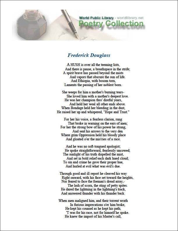 Frederick Douglass by Dunbar, Paul Laurence