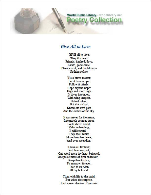 Give All to Love by Emerson, Ralph Waldo