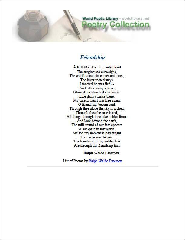 Friendship by Emerson, Ralph Waldo