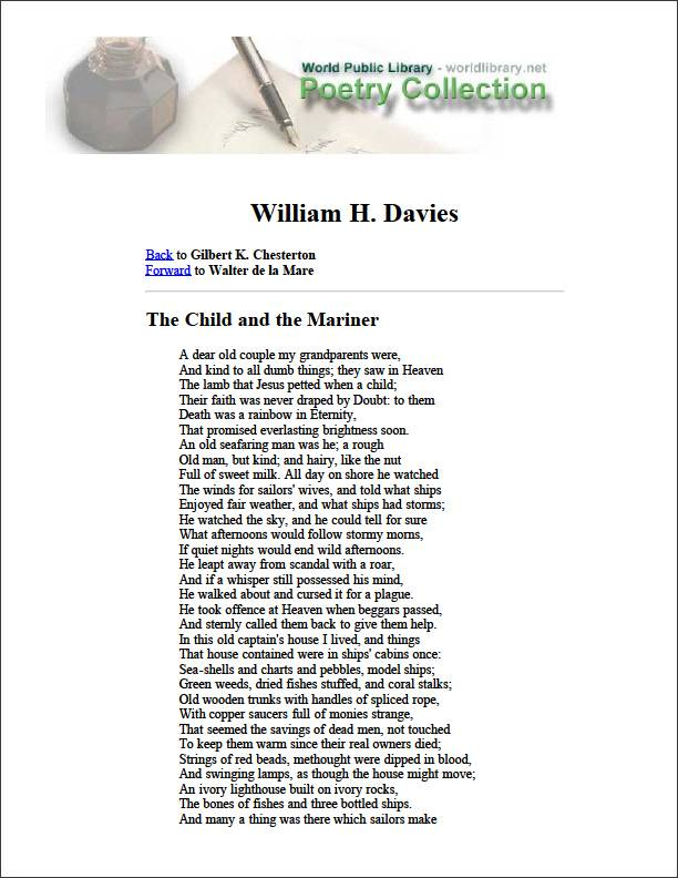 The Child and the Mariner by Davies, William H.