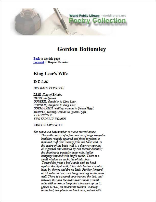 Gordon Bottomley by Brooke, Rupert