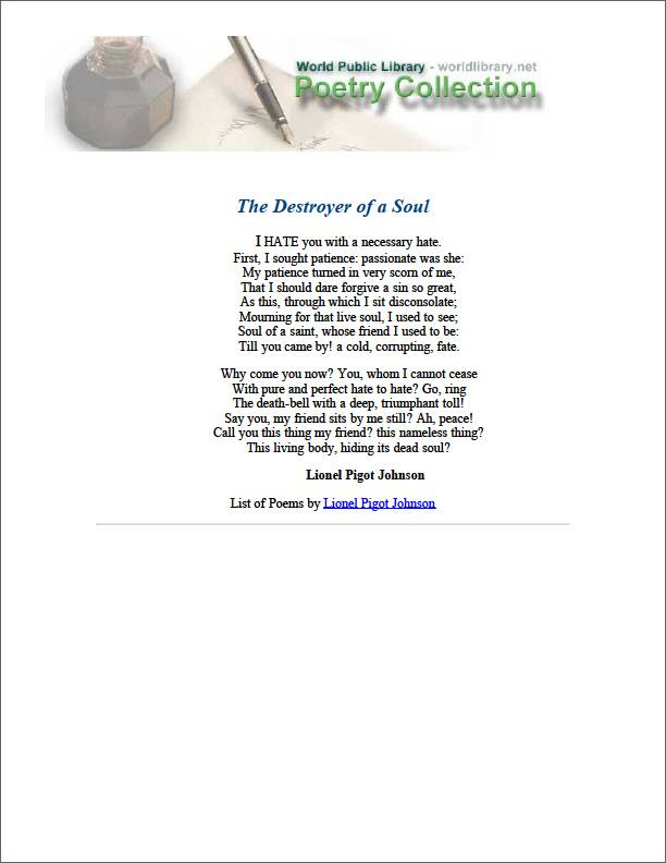 The Destroyer of a Soul by Johnson, Lionel Pigot