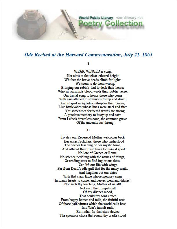 Ode Recited at the Harvard Commemoration... by Lowell, James Russell