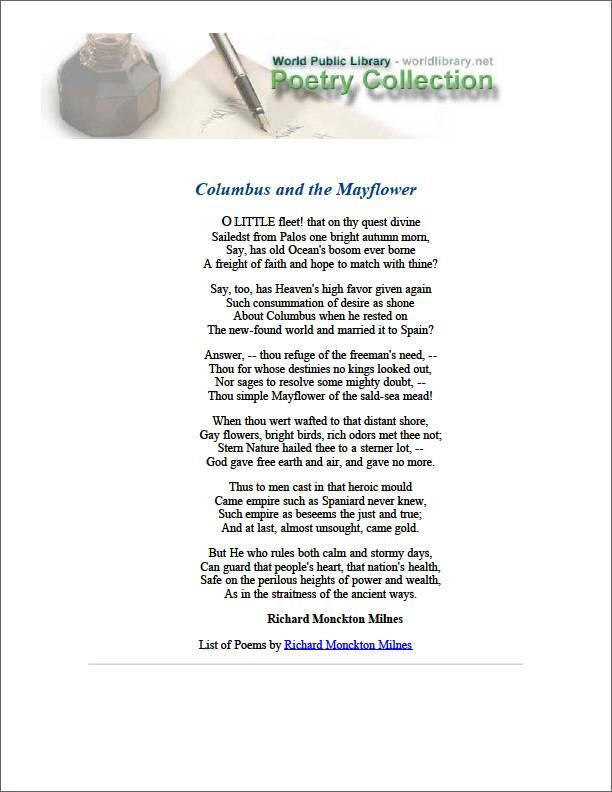 Columbus and the Mayflower by Milnes, Richard Monckton
