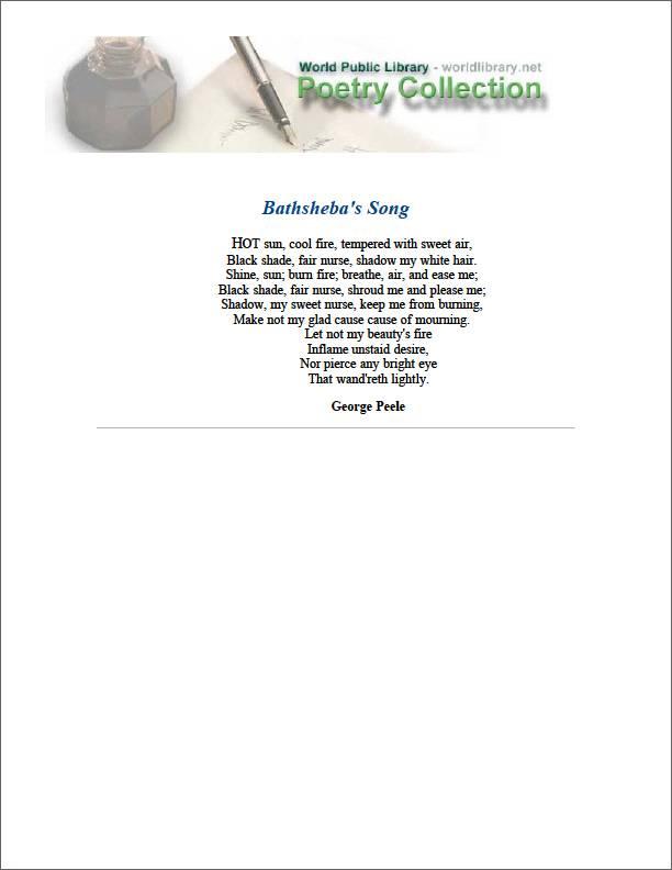 Bathsheba's Song by Peele, George