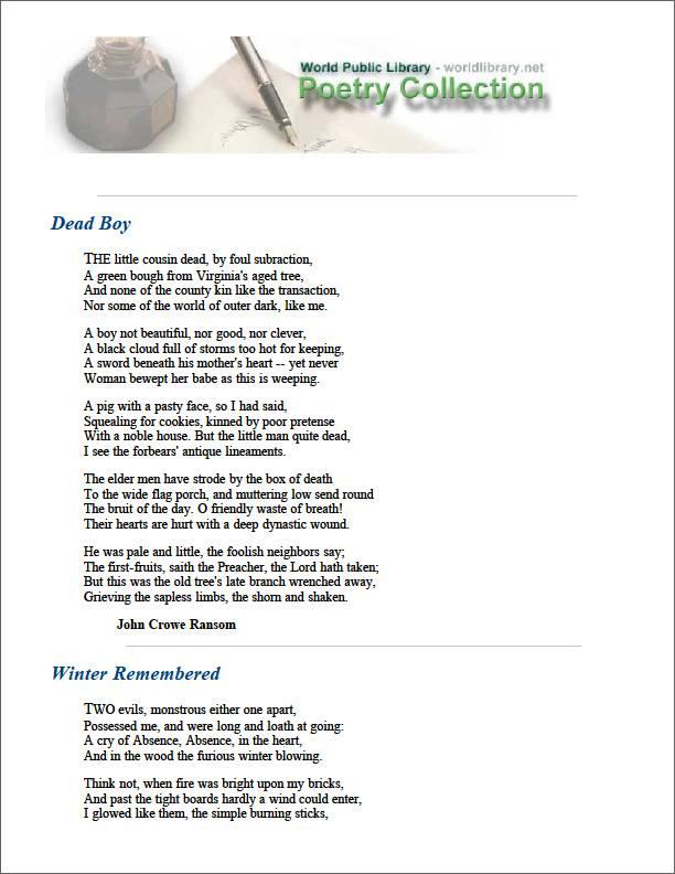 Dead Boy by Ransom, John Crowe