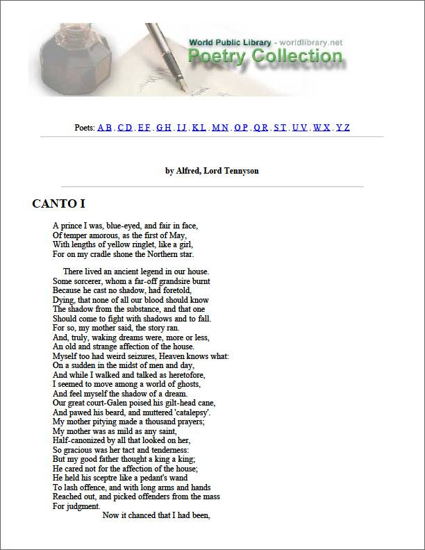 Canto I by Tennyson, Alfred Lord