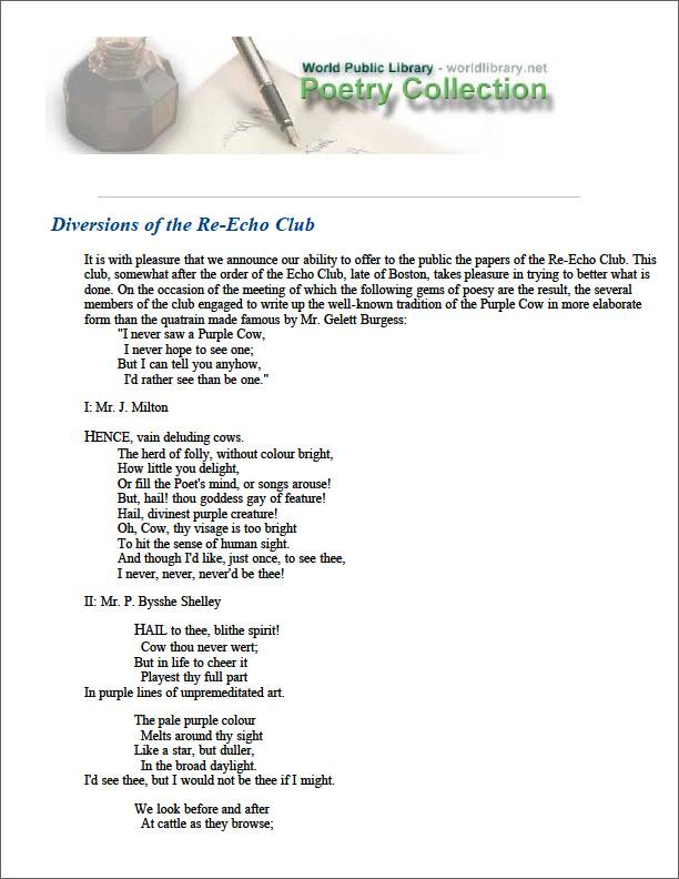 Diversions of the Re-Echo Club by Wells, Carolyn