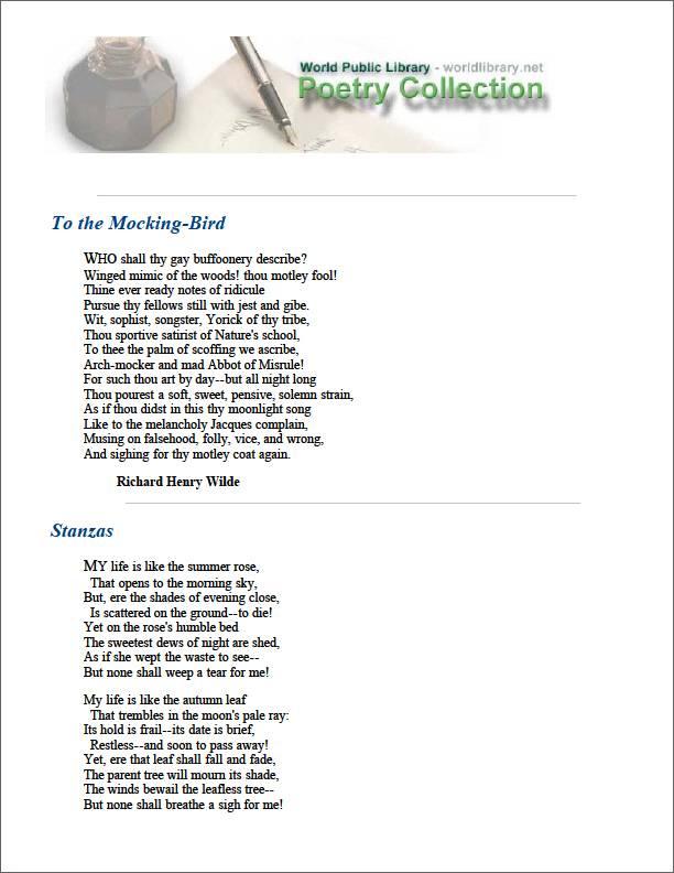 To the Mocking-Bird by Wilde, Richard Henry