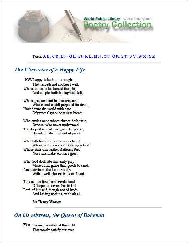 The Character of a Happy Life by Wotton, Henry, Sir