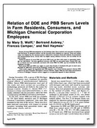 Relation of Dde and Pbb Serum Levels in ... by Wolff, Mary S.