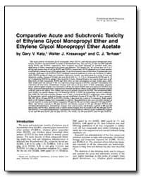 Comparative Acute and Subchronic Toxicit... by Katz, Gary V.