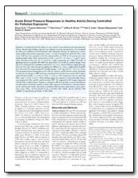 Acute Blood Pressure Responses in Health... by Brook, Jeffrey R.