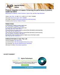 Applied Physics Letters : Photonic integ... Volume Issue : December 2008 by Mads Brøkner Christiansen, Anders Kristensen, Sans...