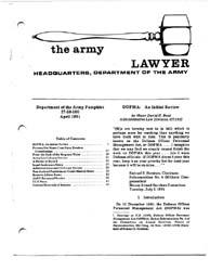 The Army Lawyer : April 1981 ; Da Pam 27... Volume April 1981 ; DA PAM 27-50-100 by Alcala, Ronald T. P.