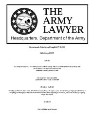 The Army Lawyer : July-August 2003 ; Da ... Volume July-August 2003 ; DA PAM 27-50-363 by Alcala, Ronald T. P.