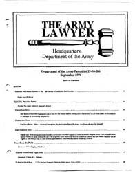 The Army Lawyer : September 1996 ; Da Pa... Volume September 1996 ; DA PAM 27-50-284 by Alcala, Ronald T. P.