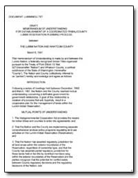 Draft Memorandum of Understanding by