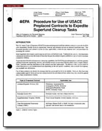 Procedure for Use of U.S. Ace Preplaced ... by Environmental Protection Agency