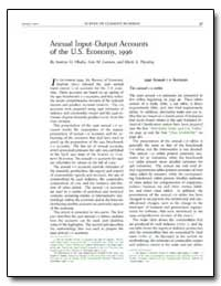 Annual Input/Output Accounts of the U. S... by Okubo, Sumiye O.
