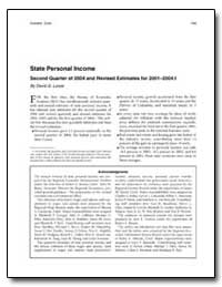 State Personal Income Second Quarter of ... by Lenze, David G.