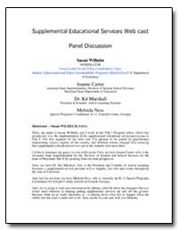 Supplemental Educational Services Web Ca... by Wilhelm, Susan