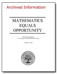 Mathematics Equals Opportunity by Riley, Richard W.