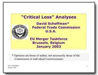 Critical Loss Analyses David Scheffman F... by