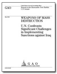 Weapons of Mass Destruction U.N. Confron... by General Accounting Office