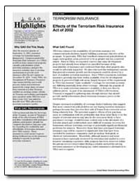 Terrorism Insurance Effects of the Terro... by General Accounting Office