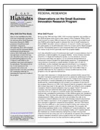 Observations on the Small Business Innov... by General Accounting Office