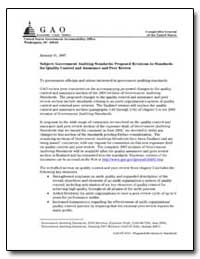 Government Auditing Standards : Proposed... by Walker, David M.
